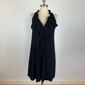 Theory Black Ruffle Zipper Dress